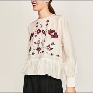 Zara Woman Silk Floral Embroidered Blouse, Size XS